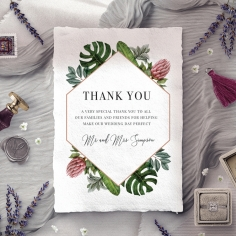 Tropical Island thank you wedding stationery card