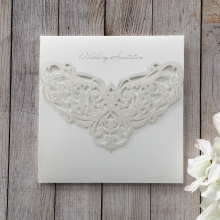 Square trifold card with intricate regal design laser cut flap