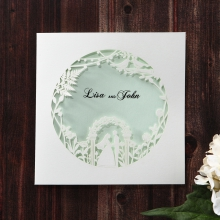 Matte white card with floral laser cut outer pocket