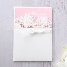 Pink colour card in white text with laser cut pocket and ribbon