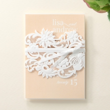 Lacey floral laser cut sleeve tied with ribbon