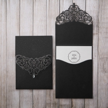 Black laser cut pocket with white matte insert card