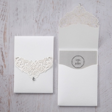 Laser cut pocket invite adorned with crystal jewel