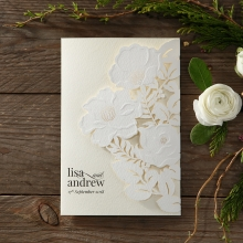 Stunning light cream textured card with floral laser cut cover