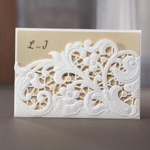 Embossed Floral Pocket Wedding Invite