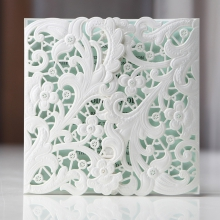 Embossed floral laser cut pocket with pearl insert card