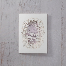 3D forest themed laser cut invite with lilac insert card