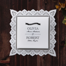 Stylish white laser cut border with trifold inner card