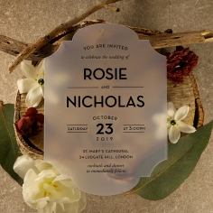 Frosted Chic Charm Acrylic Wedding Invite Card