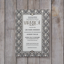 Classic black and white invite with gold foiled details