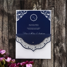 Navy blue insert card with white outer pocket and navy blue envelope flap