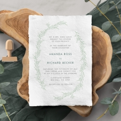 Minimalist Wreath Wedding Invitation Card