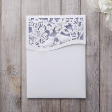 Pastel colour invite with white laser cut pocket