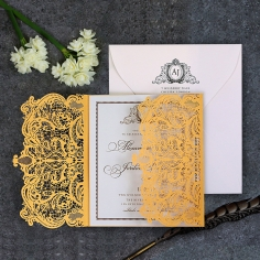Royal Lace with Foil Wedding Invitation Card Design