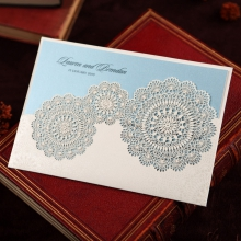Baby blue inner card enclosed in a floral laser cut pocket
