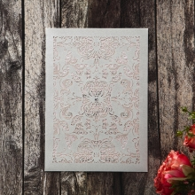 Vintage-themed pearl grey laser cut pocket invite with a sparkly crystal embellishment