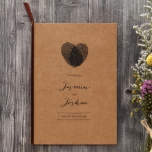 Rustic invite with thumbprint monogram enclosing a ribbed cream insert paper