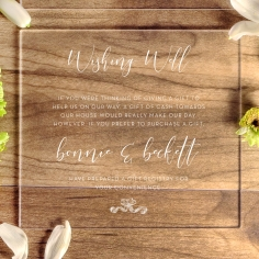 Acrylic Timeless Simplicity gift registry stationery invite card design