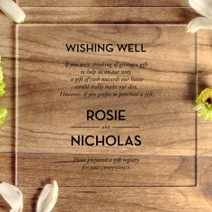 Clear Chic Charm Acrylic gift registry wedding invite card design