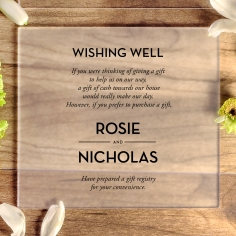 Frosted Chic Charm Acrylic gift registry enclosure card design