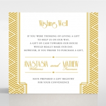 Gilded Glamour gift registry invitation card