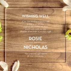 Gold Chic Charm Acrylic gift registry enclosure invite card design