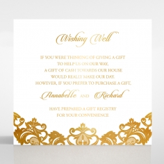 Golden Baroque Pocket with Foil wedding stationery wishing well invitation card design