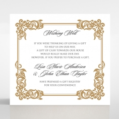 Golden Divine Damask wedding stationery wishing well invite card design