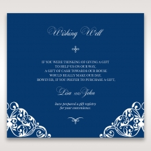 Jewelled Navy Half Pocket wedding wishing well invitation card design