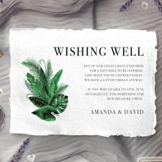 Palm Leaves wedding wishing well enclosure invite card