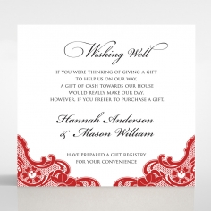 Red Lace Drop gift registry card design