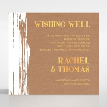 Rustic Brush Stroke  with Foil wedding stationery wishing well invitation card
