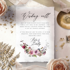 Watercolor Rose Garden wishing well invite card