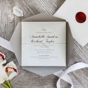 Unique Grey Pocket With Regal Stamp Invite