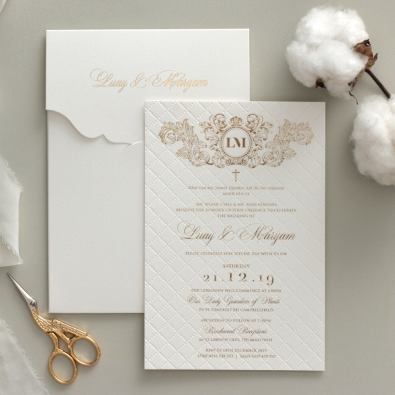 Quilted Regal Allure with Crest Foiled Pocket - Wedding Invitations - WP307GG - 178460