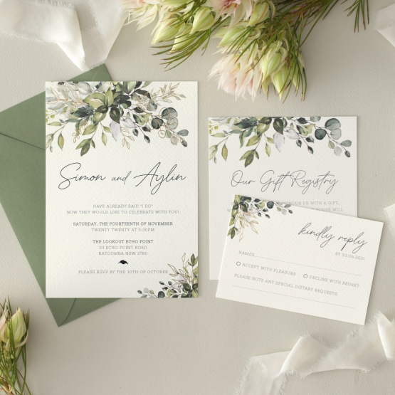 Gold Glam Greenery - Wedding Invitations - WP-CP02-GG-01 - 179095