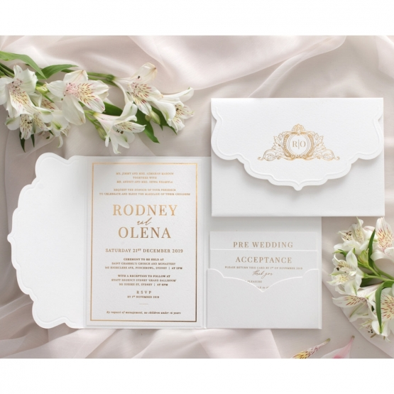 Mesmerising Solid White Pocket - Wedding Invitations - WPSP-01 - 178233