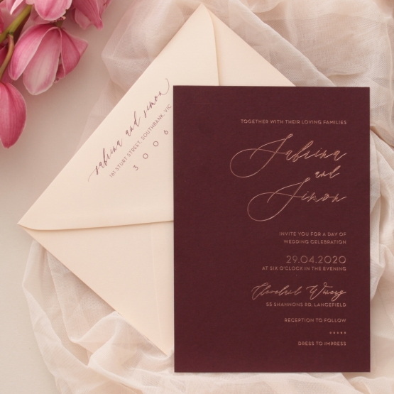 Scarlet Foiled Love Letter - Wedding Invitations - WP304GG - 178293