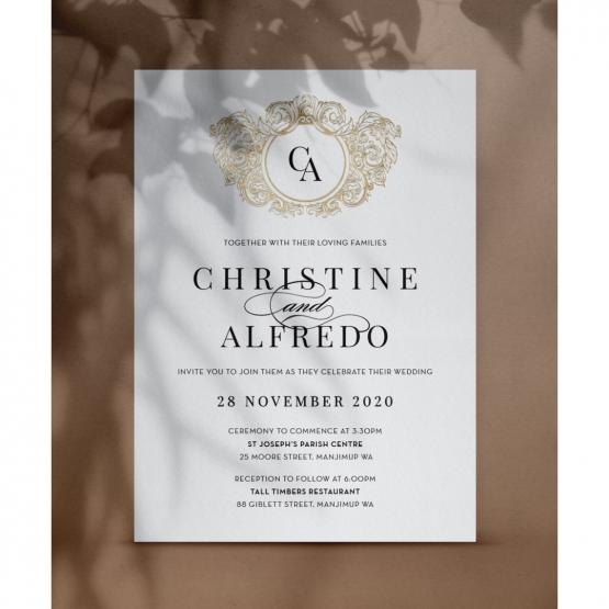 Golden Crest - Wedding Invitations - PM-KI300-PFL-GG-02 - 179109