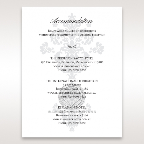 Classic Ivory Damask wedding accommodation enclosure card design