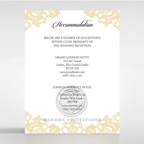Golden Baroque Pocket wedding accommodation card design