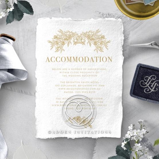 Heritage of Love wedding stationery accommodation invitation card design