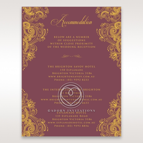 Imperial Glamour with Foil accommodation enclosure stationery invite card