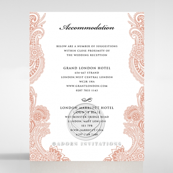 Regal Charm Letterpress wedding accommodation enclosure invite card