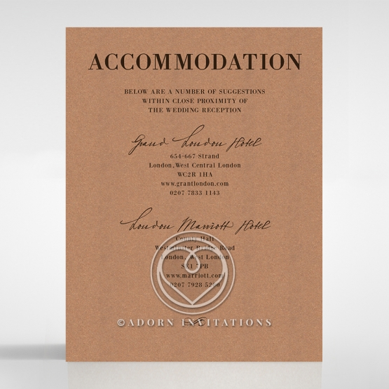 Rustic Love Notes wedding accommodation invite card design