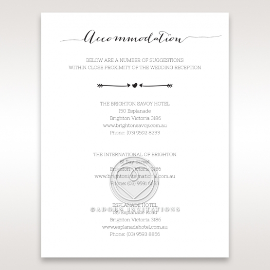 Simply Rustic wedding accommodation card