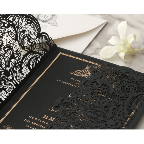 black_laser_cut_wedding_invite_with_foiled_finish