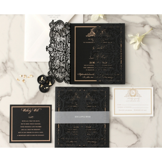 black_royal_lace_wedding_invitation_set