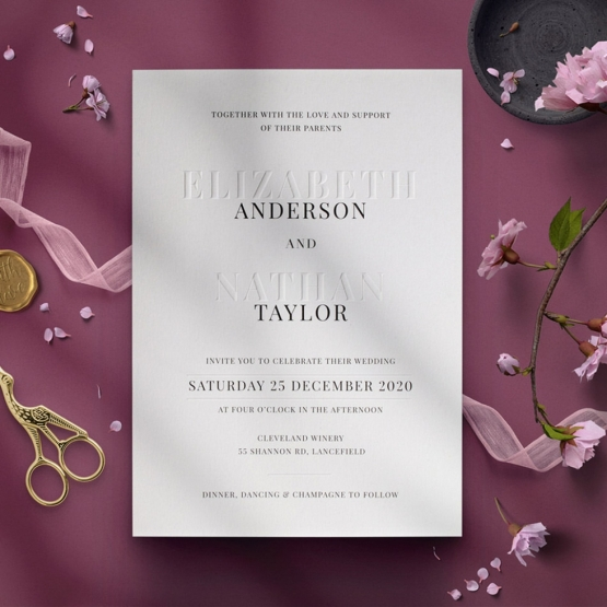 Simplicity in Blind Embossing & Colour Printing - Wedding Invitations - WP002EB - 178524