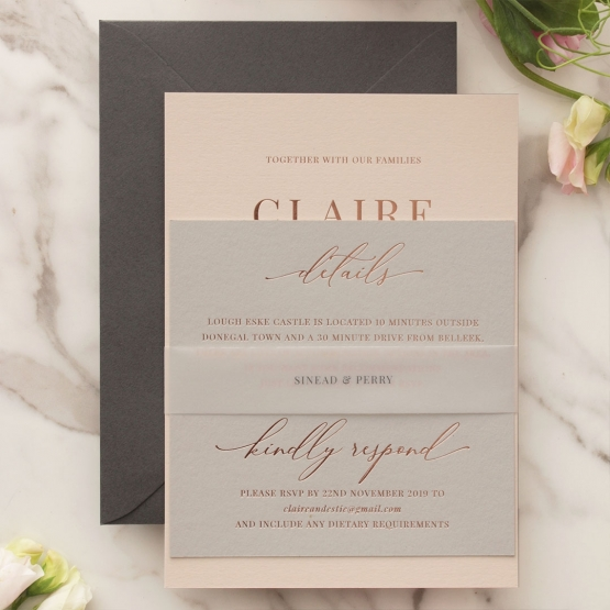 Shades of Grey and Blush with Rose Gold Foil  - Wedding Invitations - WP301GG - 178225